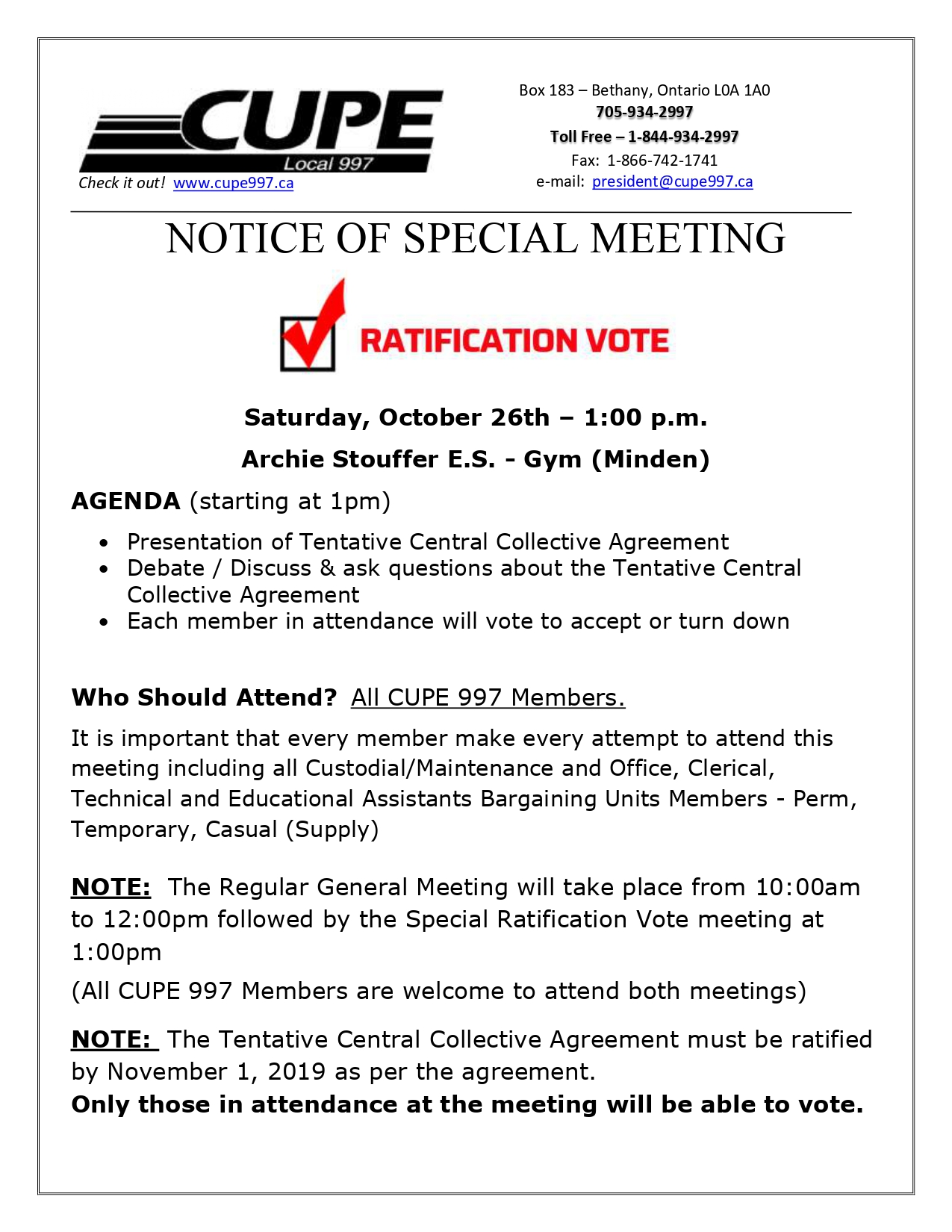 Central Ratification Vote @ Archie Stouffer Elementary School | Minden | Ontario | Canada