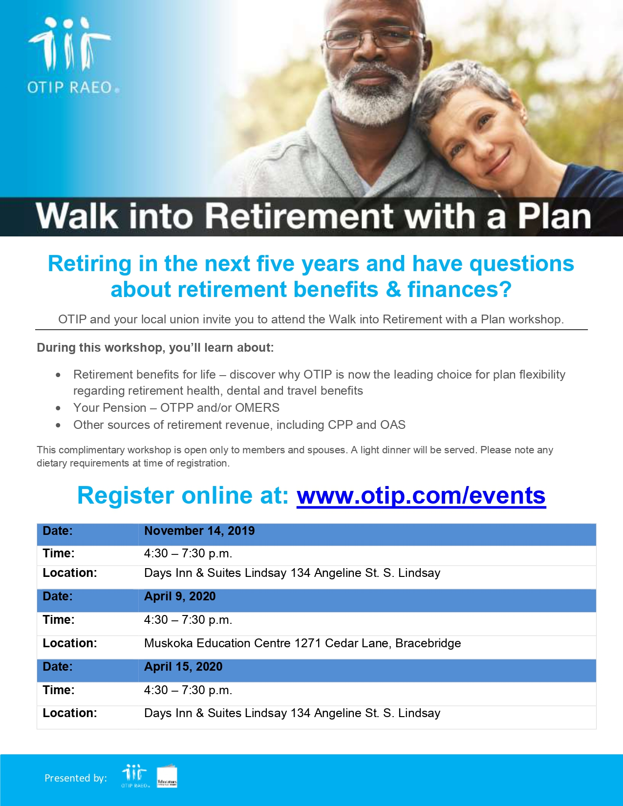 Retirement workshop - Bracebridge @ Muskoka Education Centre | Bracebridge | Ontario | Canada